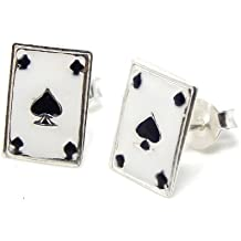 "Pro Jewelry .925 Sterling Silver ""Ace of Spades"" Stud Earrings for Women & Children EES APS 149"