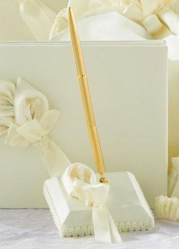 RaeBella Weddings Bridal Ivory Calla Lily Pen & Holder Set