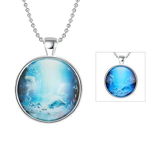 AnaZoz Bijoux de mode collier alliage Blue Pendentif Collier Rond Lumineux série Constellation Pisces Pendentif pour femme Vert Fluorescence