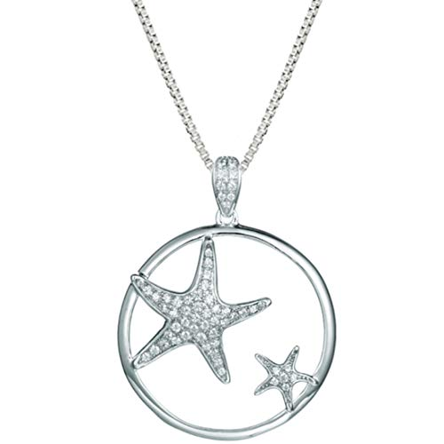 """Sterling Silver 925 Pave Mommy and Baby Starfish Circular Pendant with 18"""" Box Chain ()"""