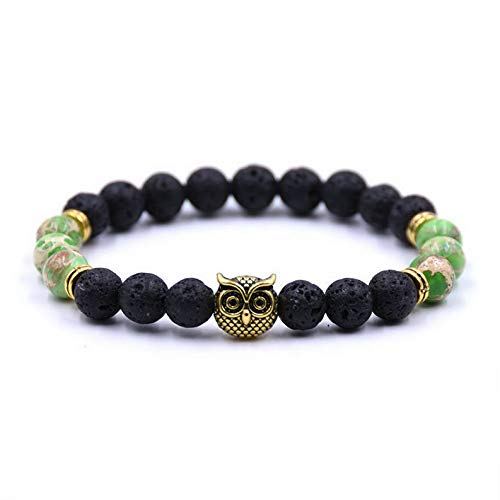 Werrox Fashion Mens Women s Natural Lava Stone Owl 8MM Beads Charm Bracelets Jewelry | Model BRCLT - 3124 | ()