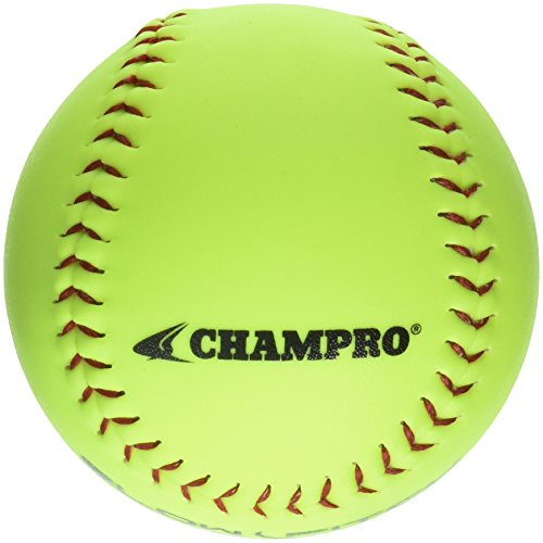 Champro Game ASA Slow Ptich .44 COR, 375 Compression, Poly Synthetic Cover, Red Stiches (Optic Yellow, 12-Inch), Pack of 12 by CHAMPRO