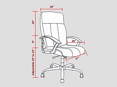 Modern Living Office Computer Desk Chair – Large Wide – Black Leather – Back Lumbar Support – High-Back Executive Swivel with Arm Rest – Height Adjustable