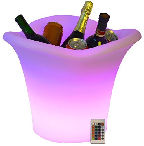 Color Changing Party Wine Ice Bucket, Remote Controlled Rechargeable Large 16 Colors LED Waterproof Indoor/ Outdoor Party Ice Bucket by Vina