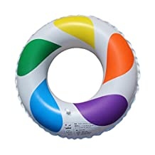 Inflatable Swim Ring Fun Rainbow Color Swimming Pool Float Raft with 2 Handle Grips 50cm