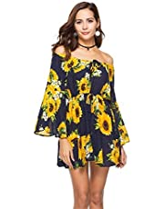 WSJTT Women's Dress Summer Floral Long Sleeve Off Shoulder Casual Mini Dresses (Size : L)