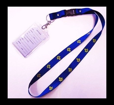 LANYARD WITH MASONIC GOLDEN YELLOW FREEMASON SQUARE & COMPASS INSIGNIA ON HEAVY DUTY YET PROFESSIONAL STRONG LANYARD WITH DETACHABLE I.D. CASE - from Hibiscus Express