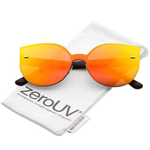 zeroUV - Oversize Rimless Color Mirror Mono Block Cat Eye Sunglasses 64mm (Matte Brown / Orange - Cat Topshop Sunglasses Eye