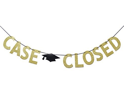 Cartel con purpurina de oro cerrado con texto en inglés'Law School Graduation Party Supplies Bunting Photo Booth Props'