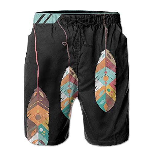 Indian Tribe Feathered Arrow Mens Beach Pants Swimming Trunks Dry Fit Boardshorts with Mesh Lining White
