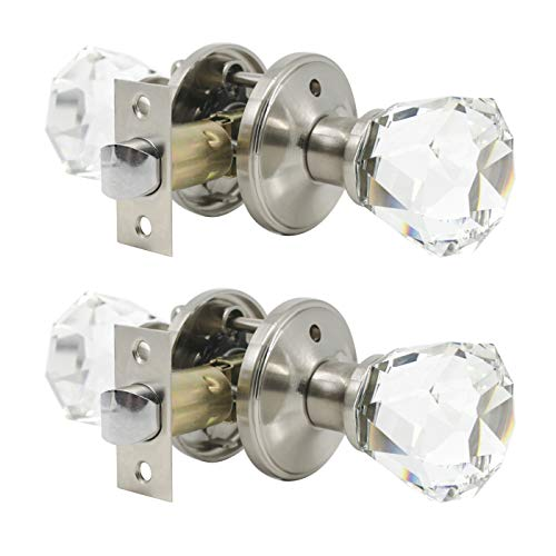 2 Clear Door Knob - 2 Pack Crystal Clear Glass Door Knobs in Diamond Shape, Passage Function for Hallway/Closets/Pantry Doors, Modern Interior Door Handles and Knobs Without Keys, Heavy Duty Satin Nickel Based Knob Set