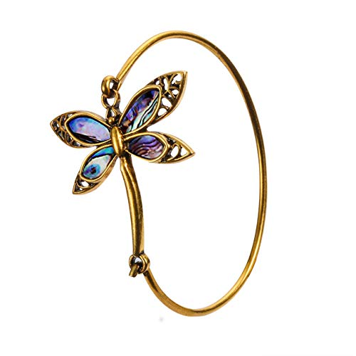 PANGRUI Exquisite Dragonfly Charm Bracelet Abalone Shell Bangle Cuff Antique Gold ()