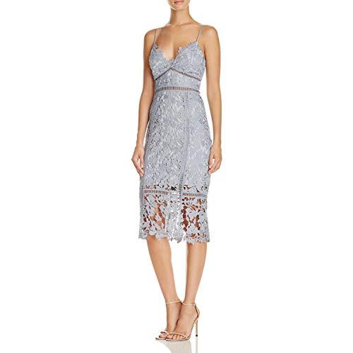 Bardot Womens Botanica Lace Overlay Sheath Party Dress Blue 10