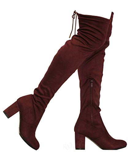 MVE Shoes Women's Thigh High Over The Knee Adjustable Fit - Suede Low Heel Boot, Bonita-02 Burgundy 11]()