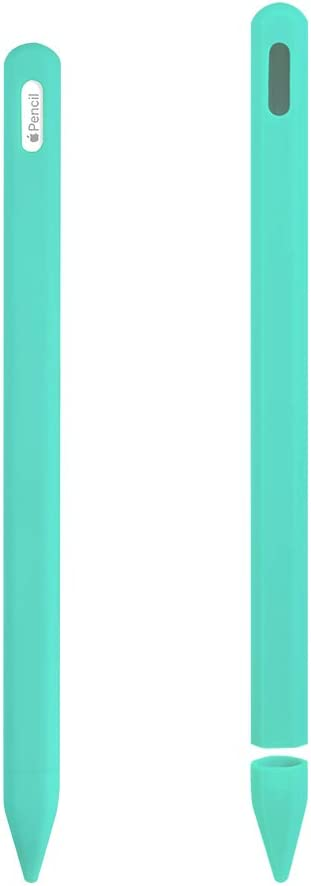 ZALU Compatible with Apple Pencil (2nd Generation), Fully Protection Silicone Case Sleeve Holder Grip + Nib Cover (Mint Green)