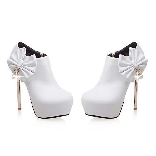 Shoes 5 Stilettos MMS03764 Pumps 1TO9 White Zipper Spikes Womens Microsuede UK 5 Platform AxT8Zq