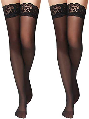 Charmnight Women's Sheer Thigh High Stockings Lace Top Reinforced Toe 2-Pack