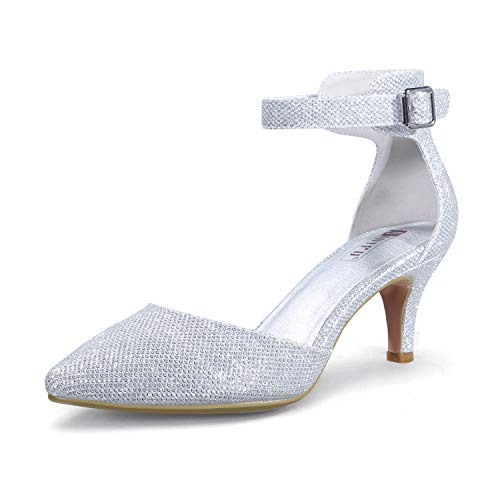 IDIFU Women's IN3 D'Orsay Pointed Toe Ankle Strap Mid Heel Pump (Silver Glitter, 10 B(M) US)