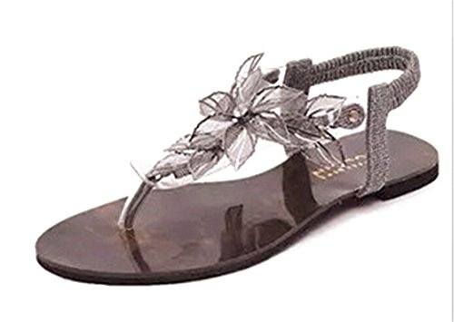 Fortuning's JDS Elegant unique flower design T-straps flat sandals Silver jjfIN7