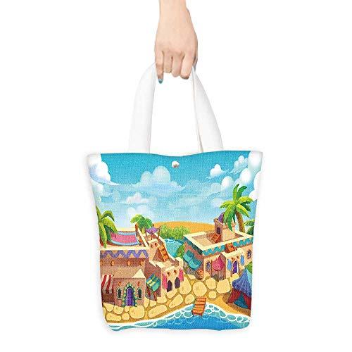 Foldable Shopping Bag Creative Illustration and Innovative Art Desert City Desert Oasis Realistic Fantastic Cartoon Style Artwork Scene Wallpaper Story Background Card Des(W15.75 x L17.71 Inch) ()