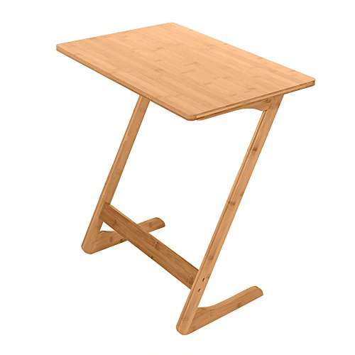 Z-Shaped Portable Laptop Desk Bed Side Table Snack Table Modern Furniture Home Office,Bamboo TV Tray Sofa Couch Coffee End Table Z-Shape, Wood