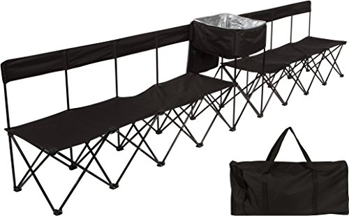 (Trademark Innovations 13.5' Portable 8-Seater Folding Team Sports Sideline Bench with Attached Cooler & Slat Fabric Back (Black))