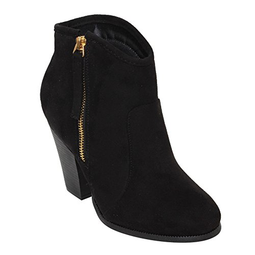 BESTON GD52 Women's Side Zip Chunky Heel Riding Ankle Booties Half Size Smaller