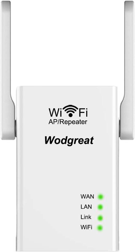 Wodgreat Repetidores WiFi N300 Amplificador Señal WiFi Repetidor WiFi 2,4GHz WiFi Router Repeater para Casa Extensor de WiFi con 2 Puerto Ethernet, ...