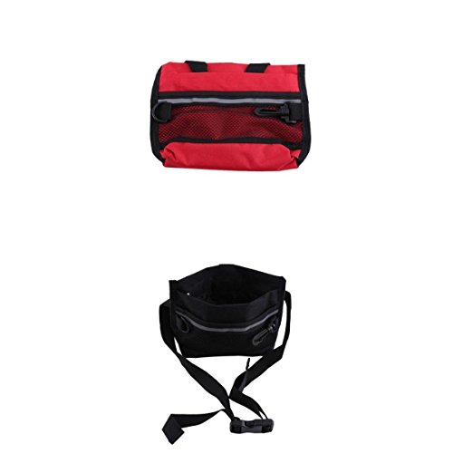 D DOLITY 2 pcs Dog TrainingTreat Pouch Snack Bag Feed Bait Mesh Pouch with Training Clicker Red,Black 22.5x18cm by D DOLITY