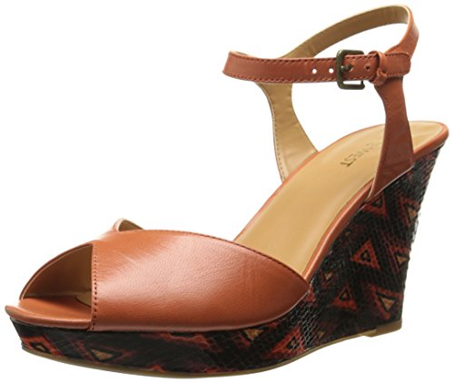 Nine West Women's Bigeasy Leather Wedge Sandal, Orange, 8.5