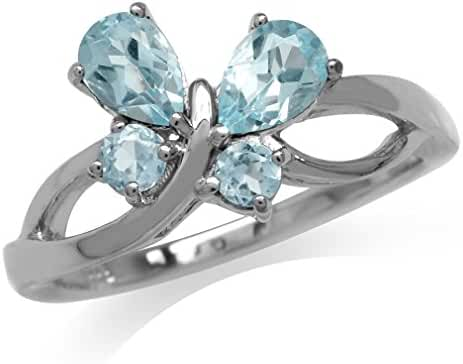 1.18ct. Genuine Blue Topaz 925 Sterling Silver Butterfly Ring