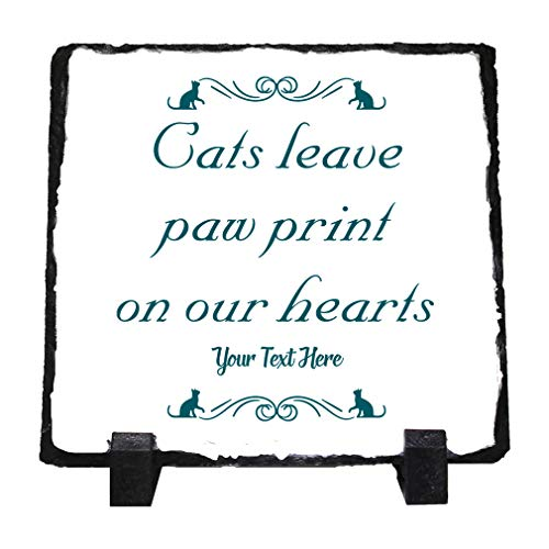 Custom Home Decor Stone Slate Plaque Memorial Cats Leave Paw Print O... Photo Picture Frame