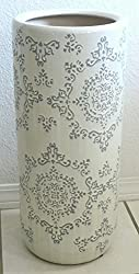 Umbrella Holder Stand Ceramic White with Grey Insets US2-18