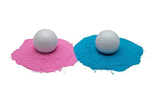 Gender Reveal Exploding Golf Balls Set 1 Pink & 1 Blue Tee Included Great Party Idea or Gift to Announce Sex of Baby Non (Biggest Golf)