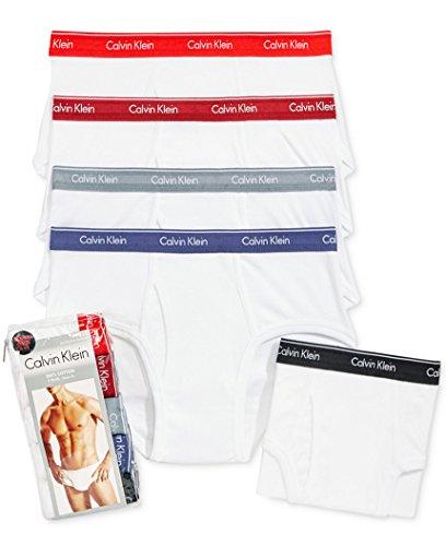 Calvin Klein Men's Briefs 4+1 Bonus Pack, White W/ Color Waistband (Large)