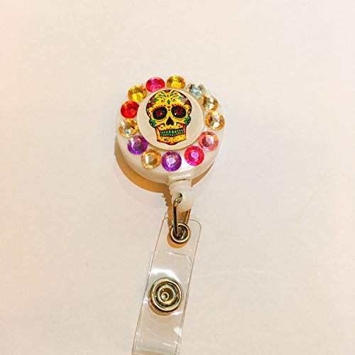 Bling Floral Sugar Skull Skeleton Round Decorated Retractable Badge Reel ID Holder with Clip Backing