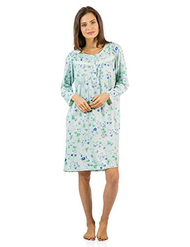 Casual Nights Women's Cotton Blend Long Sleeve Nightgown - Blossom Pintucked Green - Large