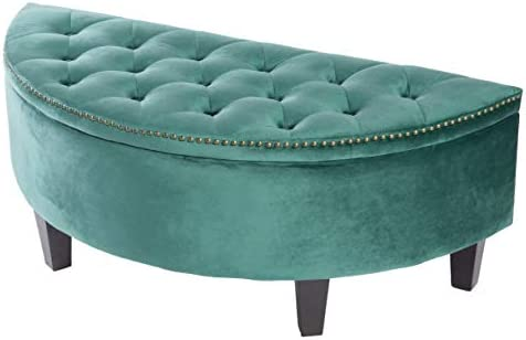 Bold Tones Half Moon Modern Velvet Tufted Storage Ottoman Bench Green
