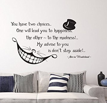 Letters Wall Decor Stickers Alice in Wonderland Quote Wall Vinyl Decal Cheshire Cat Sticker Product Made in USA Smile Decal Wall Lettering for Home Bedroom Nursery D?cor JK1383 ()