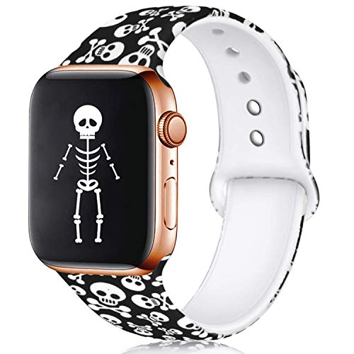 Haveda Floral Bands Compatible with Apple Watch Band 42mm 44mm, Soft Pattern Printed Silicone Sport Replacement Wristbands for Women Men Kids with iWatch Series 4 Series 3/2/1, S/M, Skull