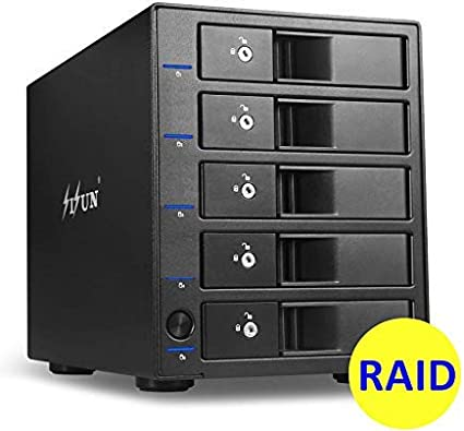 5 x 12TB HDD RAID Enclosure SISUN 5 Bay USB 3.0 Type C 5 Bay 3.5 SATA Hard Drive RAID Enclosure