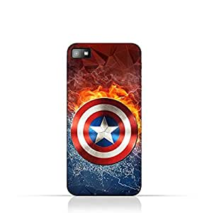 Blackberry Z10 TPU Silicone Protective Case with Shield of Captain America Design