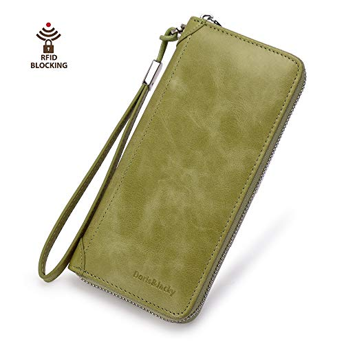 (Women Leather Wallet Rfid Blocking Large Capacity Zipper Around Travel Wristlet Bags (Palm Green))