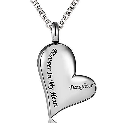 (Cremation Urn Necklace Engraved Daughter Forever in My Heart Stainless Steel Keepsake Waterproof Memorial Heart Pendant)