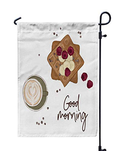 (Shorping Farm Garden Flag, 12x18Inch Coffee with Waffles and Fruits Good Morning Breakfast Food Sketch for Holiday and Seasonal Double-Sided Printing Yards)