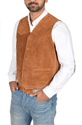 (Mens Real Suede Leather Traditional Style Classic Waistcoat Vest Don Tan (Medium))