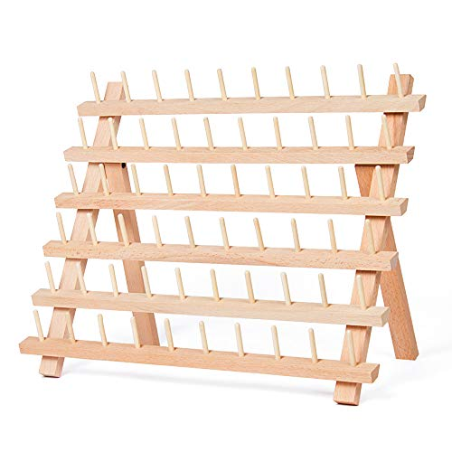 HAITRAL 60-Spool Sewing Thread Rack, Wooden Embroidery Thread Organizer for Sewing Thread Spools ()