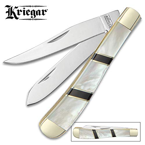 (Ridge Runner Kriegar Ascot Trapper Pocket Knife - Stainless Steel Blades, Genuine Mother of Pearl Handle, Brass Liners, Nickel Silver Bolsters)