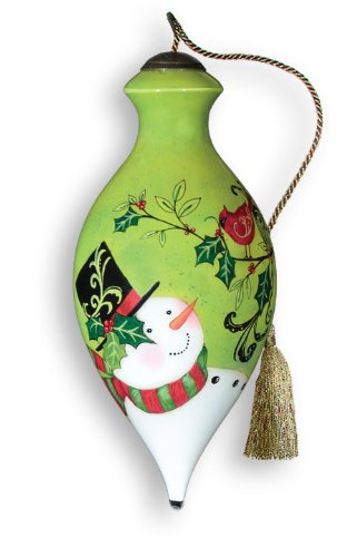 (Ne'Qwa Art Holiday Holly - New for 2012 - Glass Ornament Hand-Painted Reverse Painting Distinctive 754-NEQ)