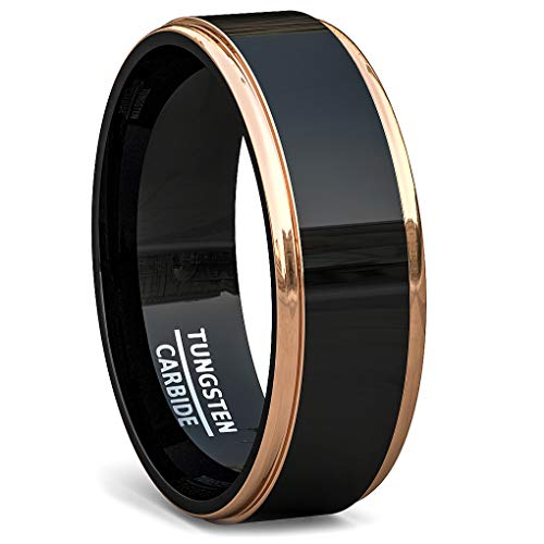 Duke Collections 8mm Tungsten Ring Rose Gold Step Edge Black Polished Comfort Fit (8.5)